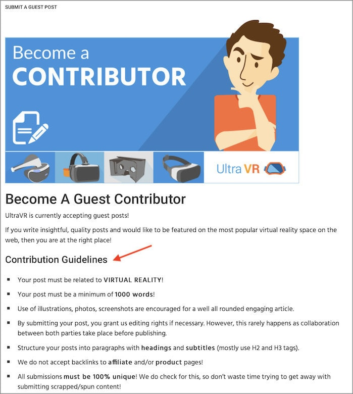 Contribution guidelines for guest posts on your website