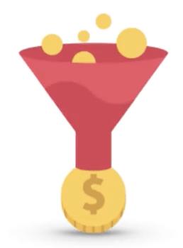 illustration of funnelling money